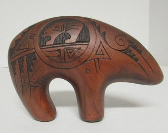 Vintage Wood bear carving, native Americana, artisan Singer Dineh, signed, great condition