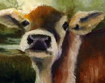 Original Oil Painting Sweet Belle the Cow 4 X 4