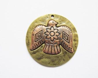 Thunderbird bronze and copper coin medallion pendant #P2