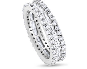 2.64 CT Natural Round & Baguette Eternity Band in Solid 18k White Gold
