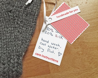 Red Colors, Garment Gift Tags for Hand Knits, Printable