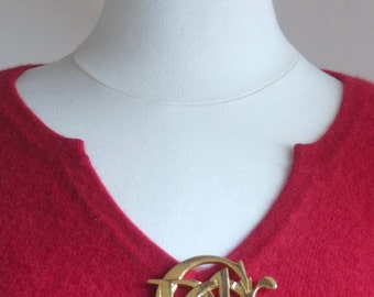 Authentic CHRISTIAN DIOR gold vintage pin