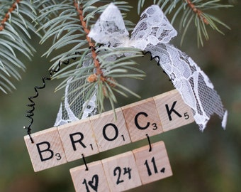 Our First Christmas - Couples Scrabble Christmas Ornament - Personalized Scrabble Ornament Personalized