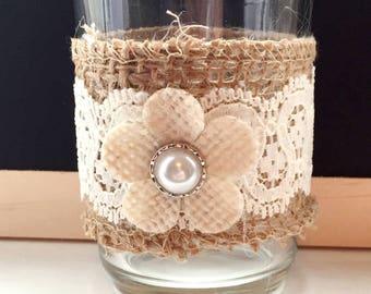 Burlap Candle Holder Custom Set of 2 Rustic Candleholder Burlap And Lace Votive Holder Choose Colors Vintage Rustic Wedding Centerpiece