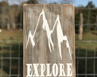 Rustic Mountain Wall Sign