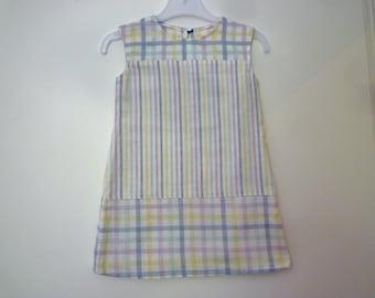 Child dress stripes and checks, size 3 years, ecru, yellow, pink, purple, blue