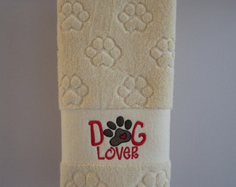 Dog Lover embroidered paw print hand towel
