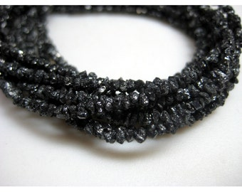 Rough Black Diamonds, Raw Diamond Beads, Wholesale Raw Diamonds, Rough Diamonds - 2mm To 3mm - 16 Inch Strand