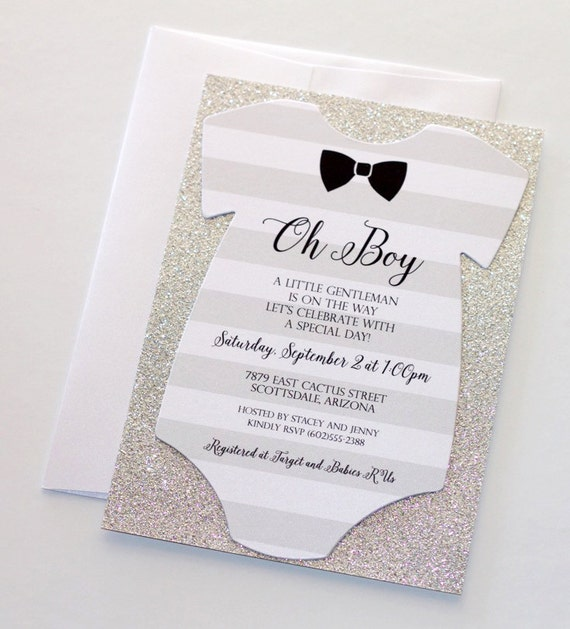 baby shower onesie invitation glitter shower invitation