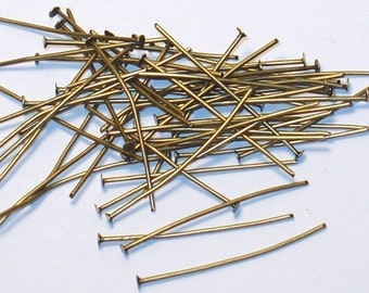 Bulk 1000 pcs ---- Antiqued Brass headpin 2inch long - 22 gauge