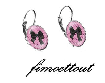 pretty earring silver resin cabochon, polka dots and pink bow and black