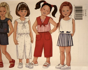 Butterick 6615 - Girl's Shorts - Girl's Pants - Girl's Top - Sewing Pattern - New - Uncut - Size 2 - 3 - 4 - 5