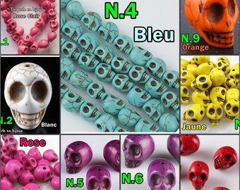 COLOR choice: 10 mm skull bead in pink white blue purple yellow red Orange Turquoise howlite stone gemstone 10 mm skull