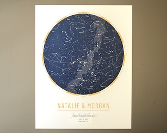 Custom Star Map: Celebrate a wedding or anniversary with a personalized map of the sky   Astronomy Art   Unique Wedding Gift