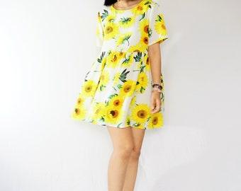 Sunflower print cotton smock dress, Loose babydoll dress, Sun dress, Plaid dress, summer dress