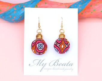 Fabric Covered Ball Earrings, Colorful Pom Pom Earrings