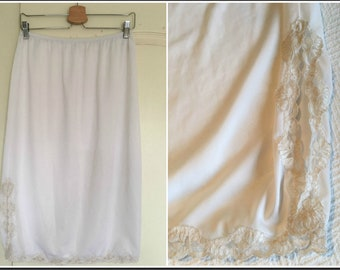 Vintage 1970s French Maid Half Slip with Lace Trim and SIit - Size Large