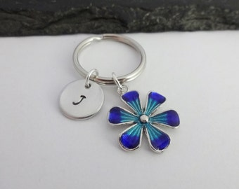 Flower Keyring, Initial Flower Keyring, Hand Stamped Keyring, Floral keyring,Charm Keyring,Flower Keychain,Personalised Keyring,Gift For Her