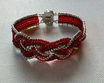 Celtic Valentine's Day Bracelet in Red and Silver