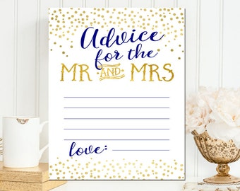 Navy & Gold Printable Advice for the couple card- Navy and Gold Foil Advice for Mr and Mrs card - Instant Download - BS41