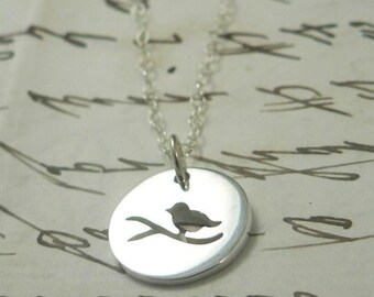 Chirp Sterling Silver Sparrow Bird Charm Necklace