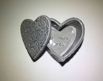 I love you, lavender heart-shaped jewelry box