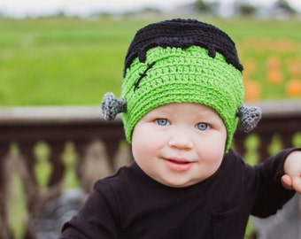 Cute Baby Frankenstein Hat in Baby, Infant, Toddler Sizes - Great Gift For Fall/Autumn Babies, Halloween Baby, October Baby