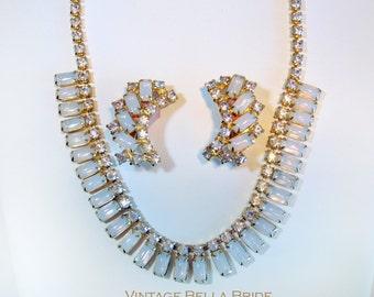Vintage Blue Moonstone Aurora Borealis Rhinestones Wedding Necklace Clip Back Earrings Set Mid Century Gold Tone