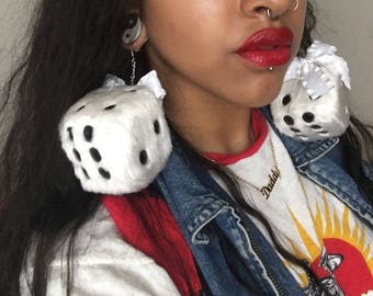 Fuzzy Dice Earrings