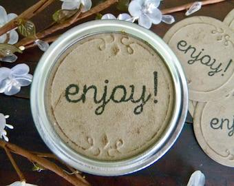 Mason Jar Labels, Enjoy Food Labels, Jar Stickers, Mason Jar Lid Inserts, Gifts in a Jar Tags, Canning Jar Labels