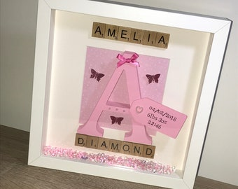 Wooden Initial/Christening Gift Box Frame