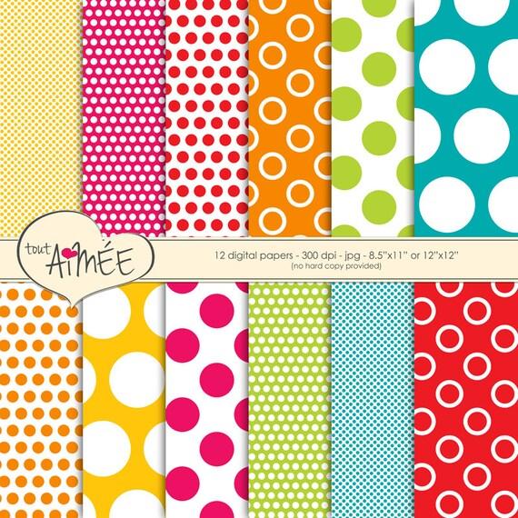 Digital Scrapbook papel - patrones de puntos grandes y pequeños en ...