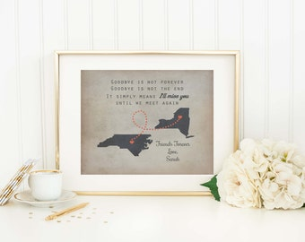Personalized Long Distance Map Print - Custom States Map - Moving Gift - Friendship Gift - Goodbye Gift - Long Distance Gift - Map Art Print