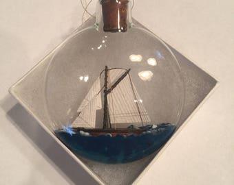 Ship in a Bottle Ornament - Handmade