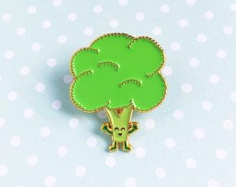 Broccoli Enamel Pin - cute cartoon healthy greens vegetable veggies food lapel