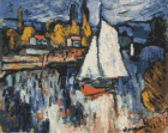 River Cross Stitch Kit, View of the Seine Cross Stitch, Embroidery Kit, Art Cross Stitch, Maurice de Vlaminck