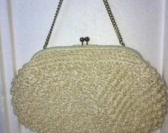 Vintage natural woven rattan handbag