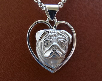 Large Sterling Silver Pug Head Study On A Heart Pendant
