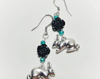 Rabbit Earrings, Rabbit and Black Roses Earrings, Funky Bunny Earrings, Rose Bunny Earrings, Rabbit Earrings, Spring Earrings, Bunny Jewelry