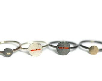 Single stacking silver disc ring with embroidery thread
