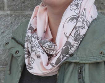SALE *Was 29* Blush Sailor Small Infinity Scarf, Sailor Print with diamonds, anchors, skulls, flowers, Screen Printed, made in Canada