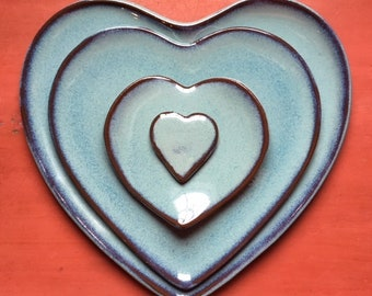 Heart Plate Set - Chun Glaze on Red Clay Stoneware