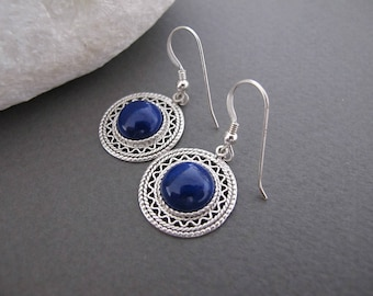 Lapis Lazuli Earrings, Silver lapis earrings, Lapis jewelry, Filigree earrings, Israeli jewelry, Yemenite jewelry, blue lapis earrings