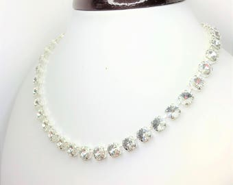 Clear Crystal Swarovski Bridal Necklace Sparkly Wedding Jewelry 8mm Crystal Chatons Diamond Cut Necklace Clear Tennis Necklace 16 or 18 inch