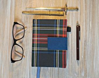 Blue Plaid Journal Cover - Blue Tartan Handmade A4 or A5 or A6 Notebook Cover - Navy Blue Check Handmade 2017 Diary Cover