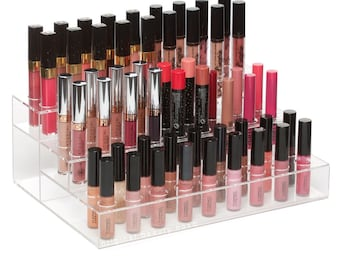 54 Slot Round Lipstick Holder- Acrylic makeup organizer, holds lipstick and lipgloss. Large capacity