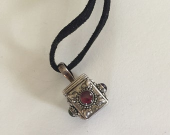 HALF PRICE! Sterling Silver Prayerbox with gemstones on Black Suede Necklace