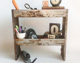 "Up-Cycled Vintage Industrial Metal Boxes Turned Desktop Shelf, Shop or Studio Organizer, Mini Bar ""Industrial Chic Style"""