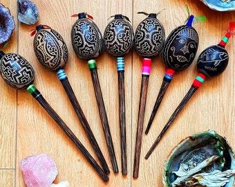 Small Hand-carved Gourd Rattle | Shamanic Rattle | Maraca | Shipibo Art | Shamanic Tools | Pisces | Monkey | Icaros