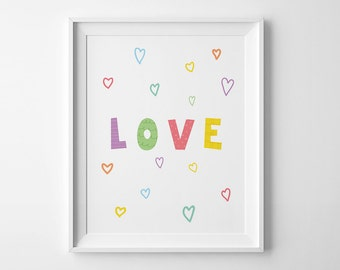 Playroom print, nursery art, love print, baby gifts, mini learners, children room decor, love wall art print nursery wall print playroom art